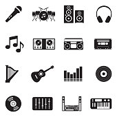 Music Icons. Black Flat Design. Vector Illustration.