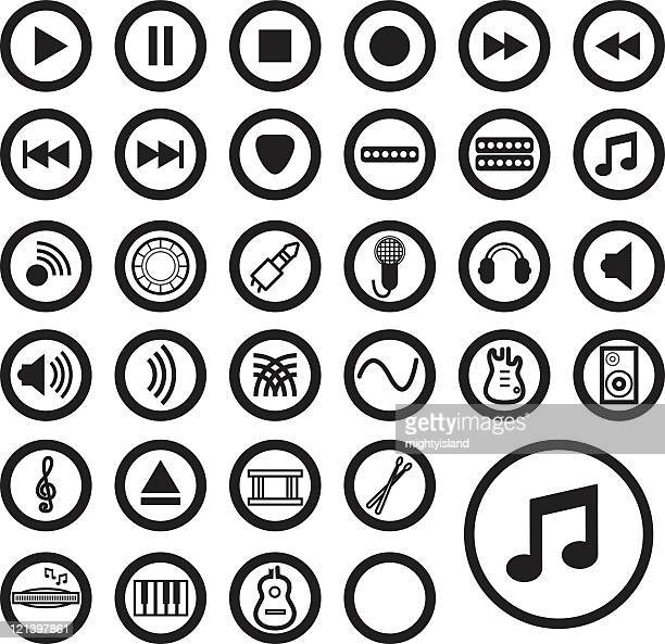 Música iconos-negro