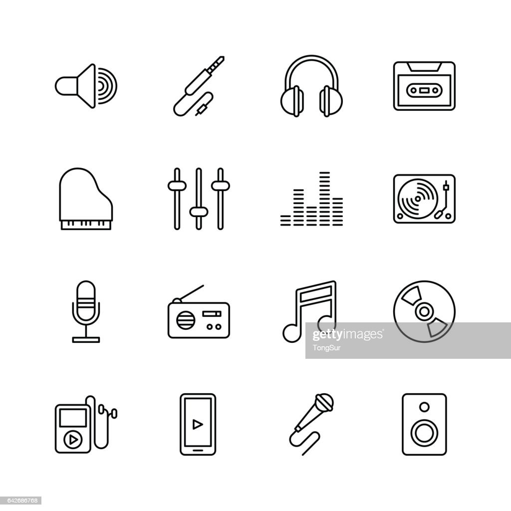 Music icons - line : stock illustration