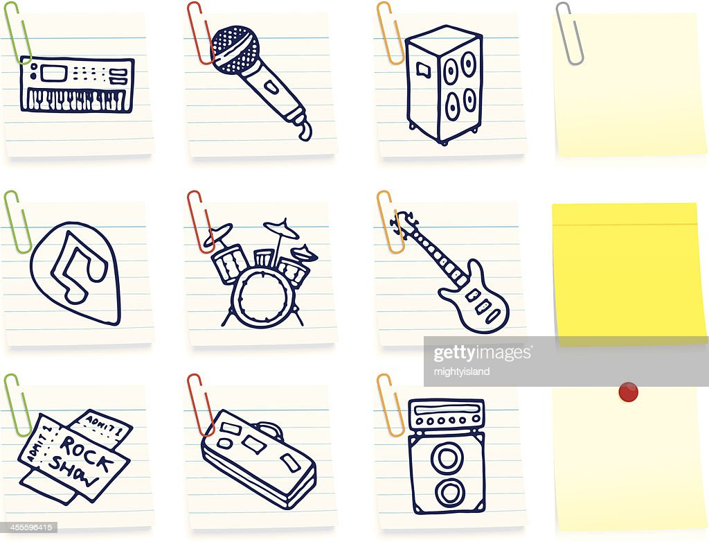 Music icons on post it notes