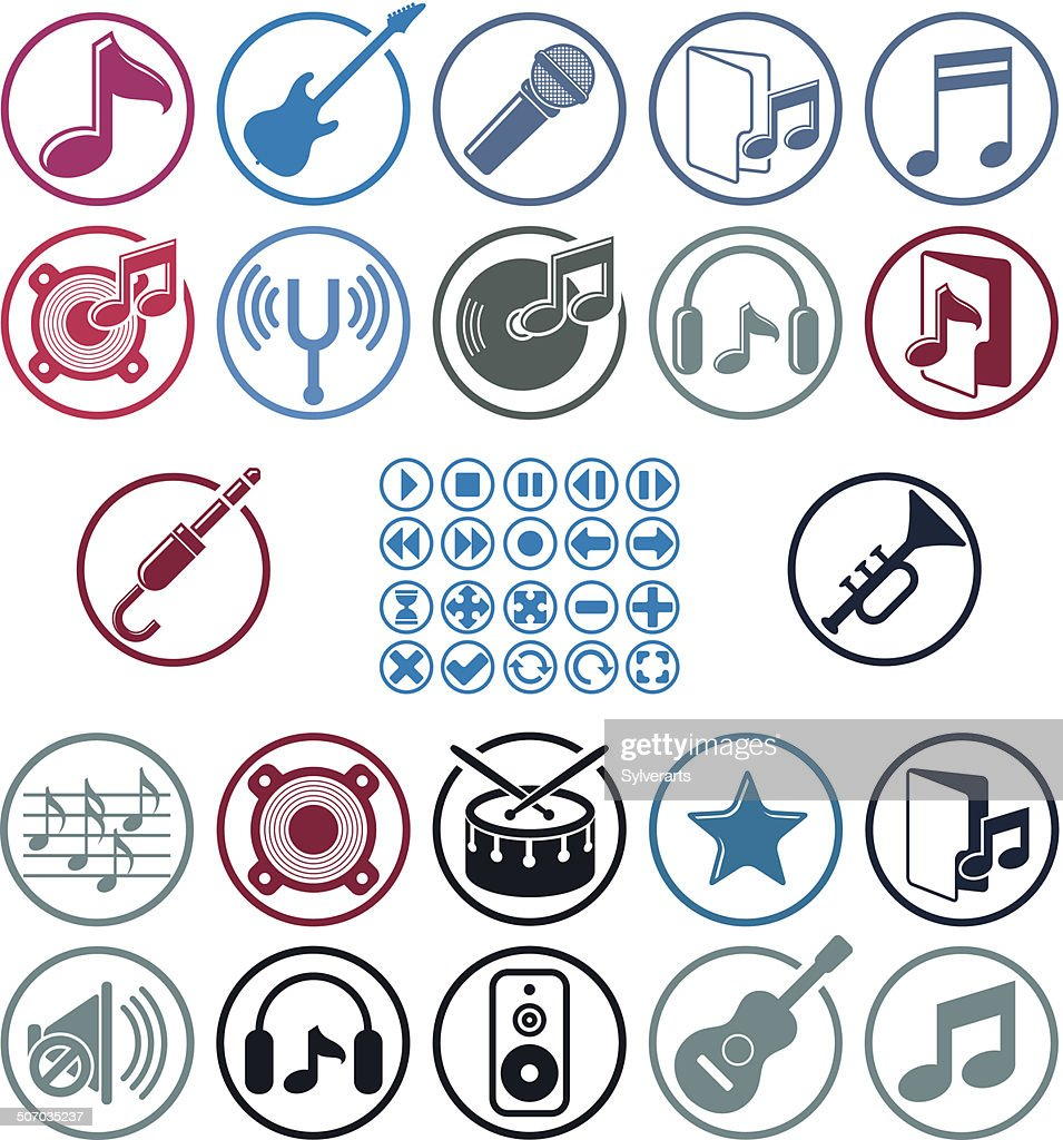 Music icons set, simple vector icons set for music