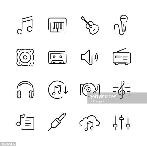 music icons — sketchy series - audio equipment stock illustrations, clip art, cartoons, & icons
