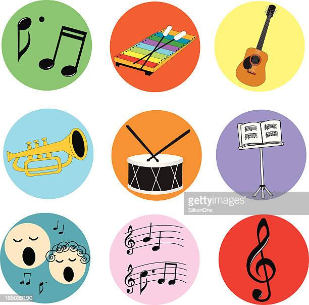 music icons - snare drum stock illustrations, clip art, cartoons, & icons