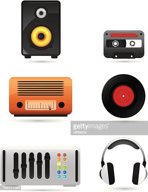 music icons - computer speaker stock illustrations, clip art, cartoons, & icons