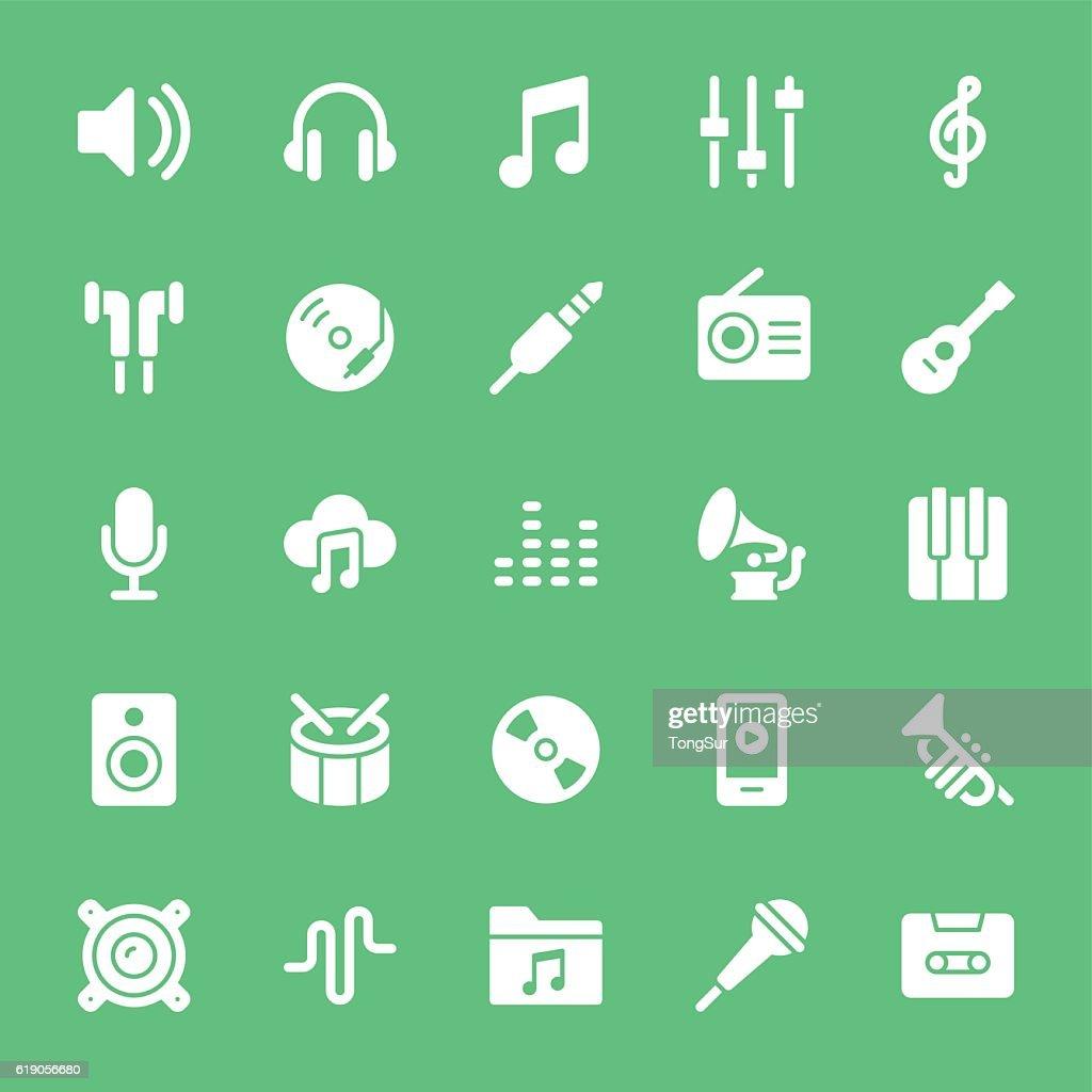 Music icons  - White