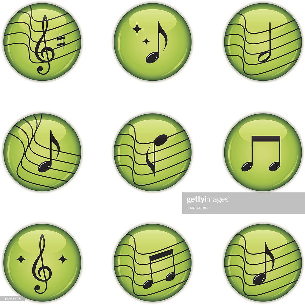 Music icons with musical notes and treble clef : stock illustration