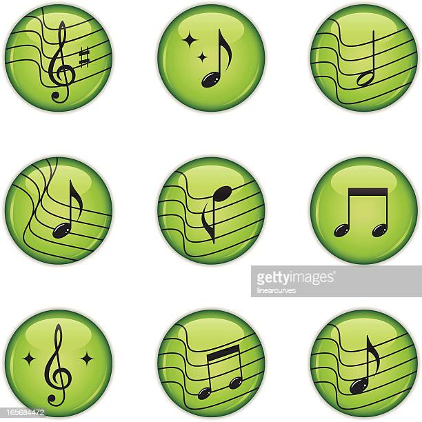 music icons with musical notes and treble clef - treble clef stock illustrations, clip art, cartoons, & icons