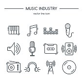 Music industry icons line set.