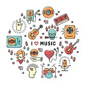 Music infographics line art icons, inspiring quote