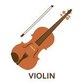 Music instrument icon. Violin. Vector flat illustration
