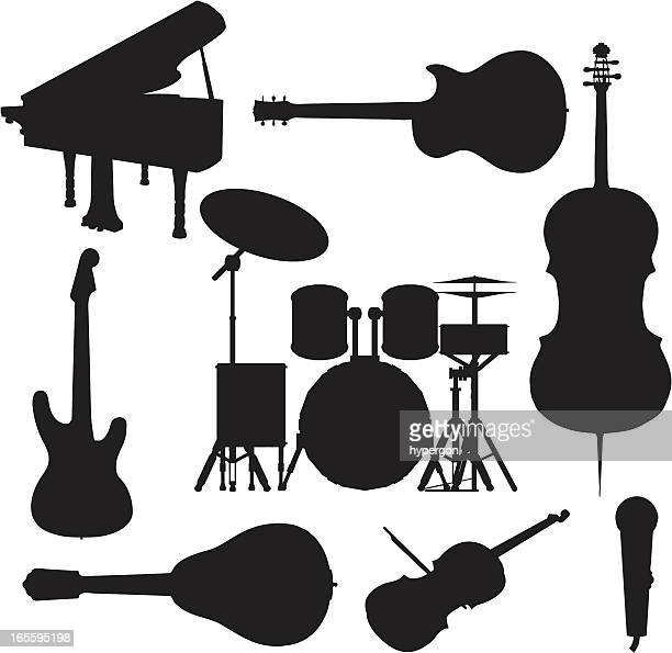 music instrument silhouette collection - guitar stock illustrations