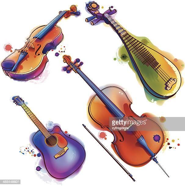 music instrument - violin stock illustrations, clip art, cartoons, & icons