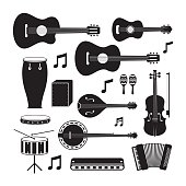Music Instruments Acoustic Silhouette Objects Set
