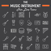 Music instruments line icon set, audio symbols collection, musical tools vector sketches, icon illustrations, signs linear pictograms package isolated on black background, eps 10.