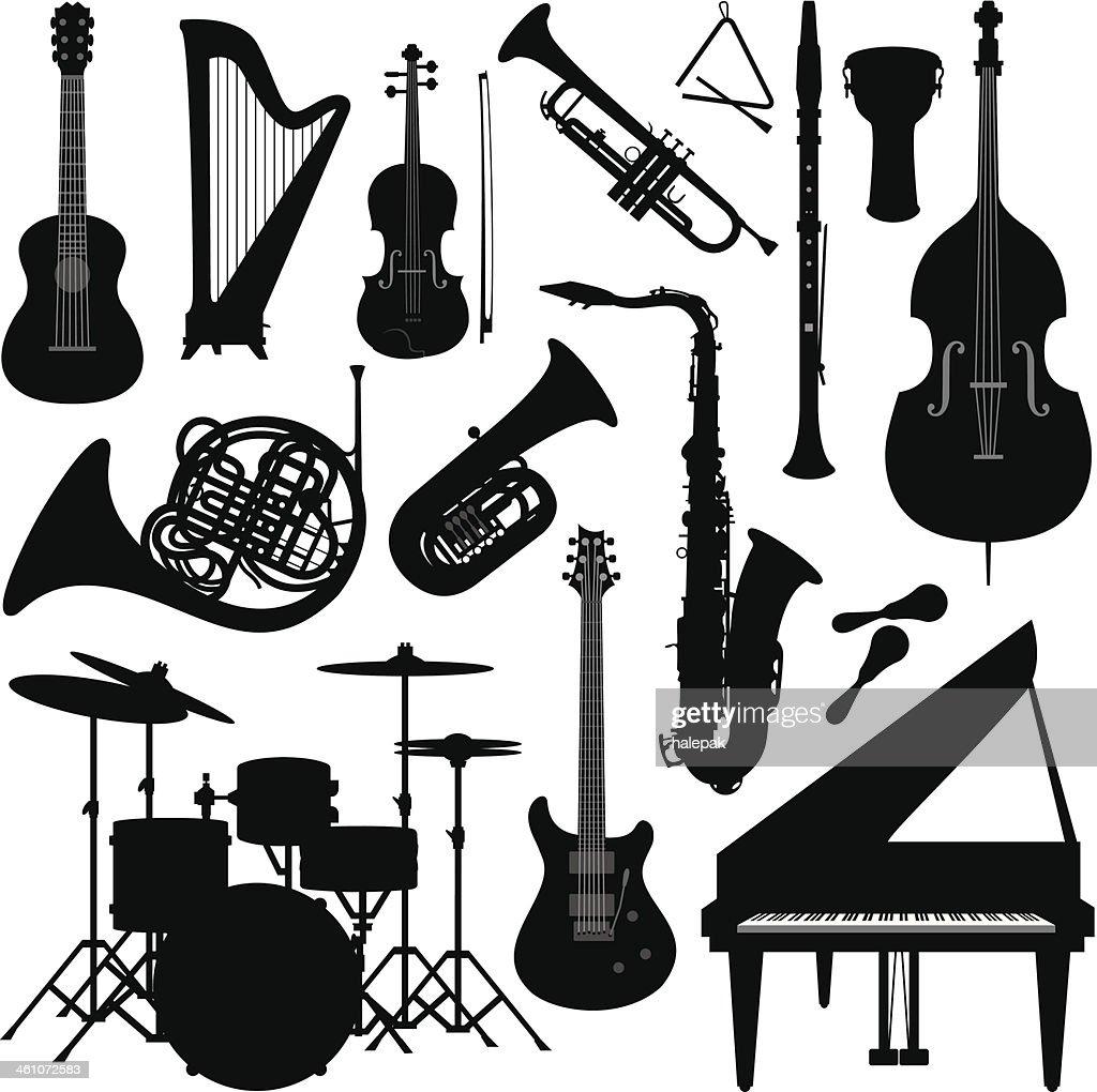 Music instruments silhouette : stock illustration