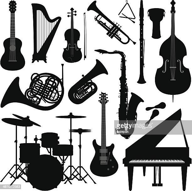 music instruments silhouette - saxaphone stock illustrations, clip art, cartoons, & icons