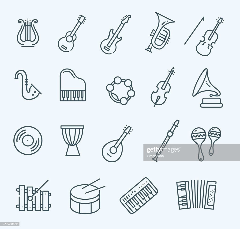 music instruments. Vector icons