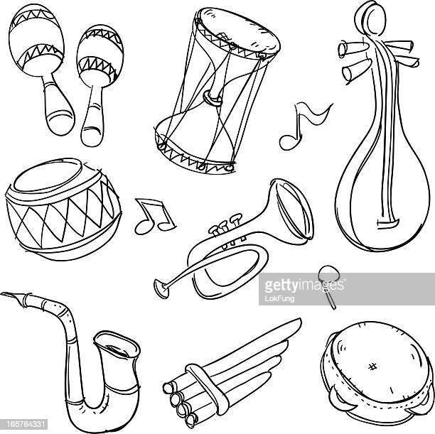 ilustrações de stock, clip art, desenhos animados e ícones de música instument em preto e branco - pandeiro