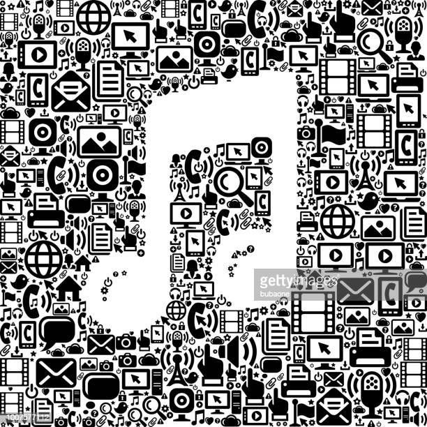 music internet communication technology vector icon pattern - music symbols stock illustrations, clip art, cartoons, & icons
