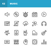Music Line Icons. Editable Stroke. Pixel Perfect. For Mobile and Web. Contains such icons as Speaker, Audio, Music Player, Music Streaming, Dancing, Party, Piano, Headphones, Guitar, Radio.