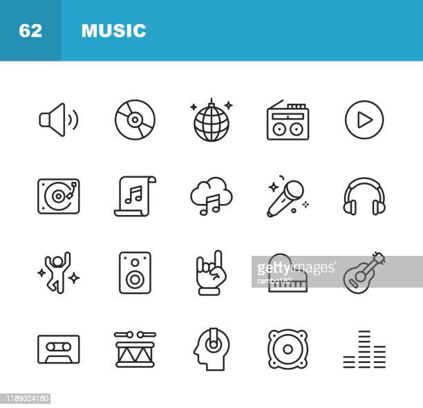 music line icons. editable stroke. pixel perfect. for mobile and web. contains such icons as speaker, audio, music player, music streaming, dancing, party, piano, headphones, guitar, radio. - radio stock illustrations