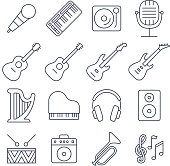 Music line vector icons set