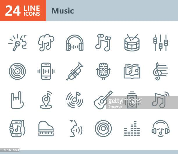 music - line vector icons - karaoke stock illustrations