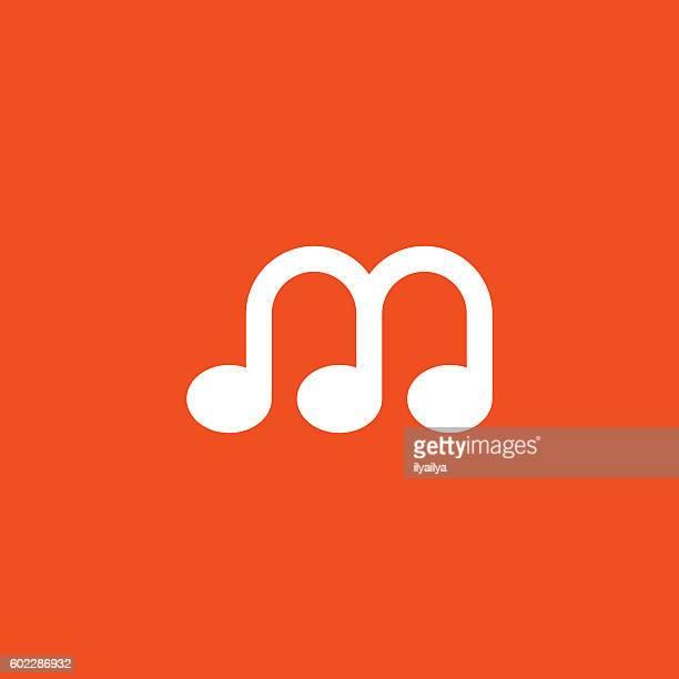 music logo. melody logo - letter m stock illustrations, clip art, cartoons, & icons