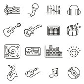 Music Making or Music Studio Equipment Icons Thin Line Vector Illustration Set