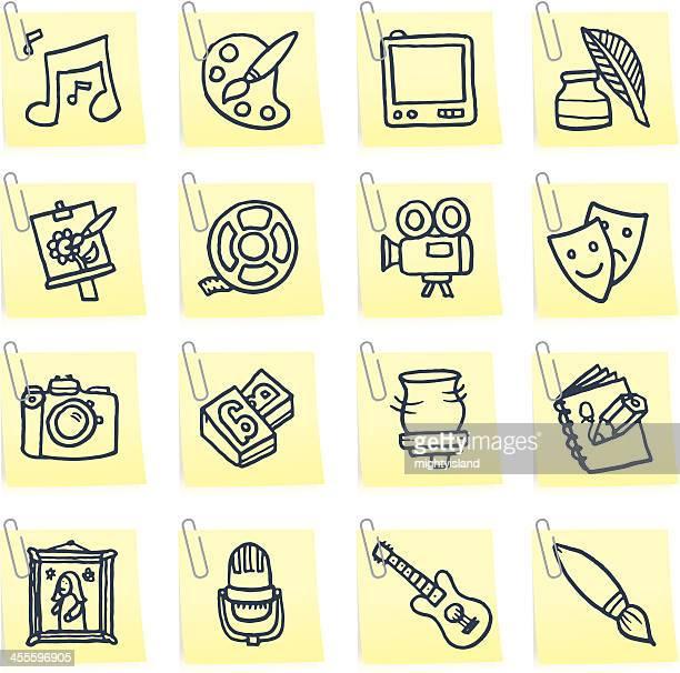 music media arts and craft post it note icon set - ceramics stock illustrations, clip art, cartoons, & icons