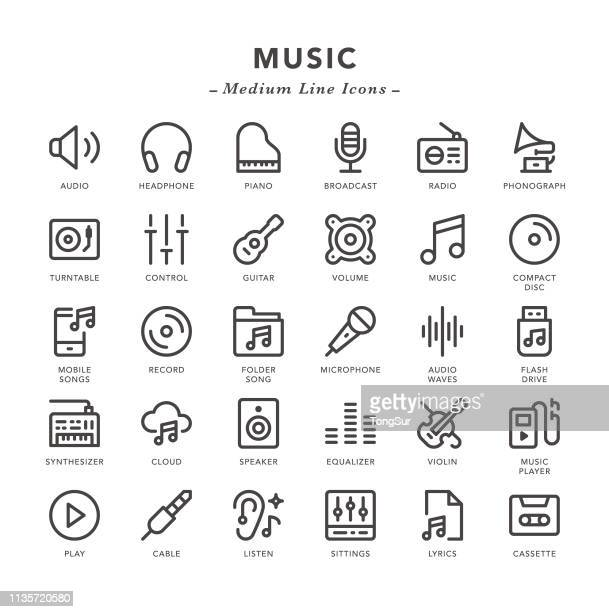 music - medium line icons - audio equipment stock illustrations, clip art, cartoons, & icons