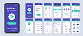 Music mobile app interface design vector templates set.