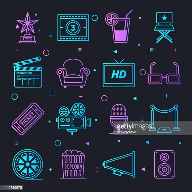 music & movie industries constellation line gradient vector icons set - film crew stock illustrations