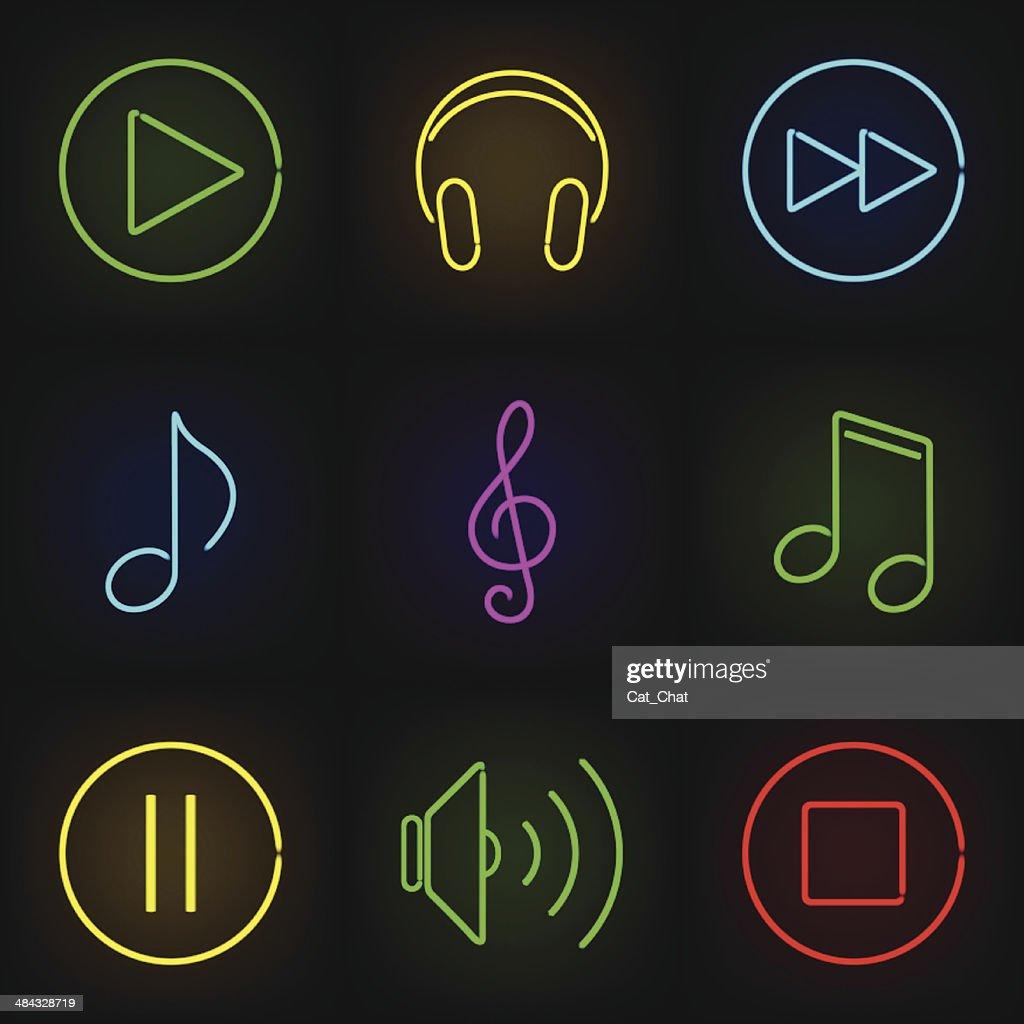 Music neon icons