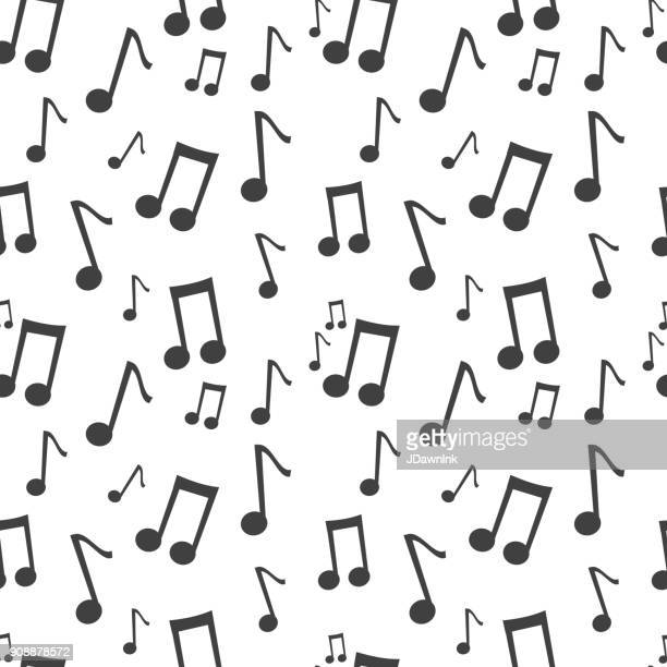 music note black and white seamless pattern background - musical note stock illustrations