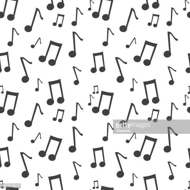 ilustrações, clipart, desenhos animados e ícones de música nota preto e branco sem costura de fundo - nota musical