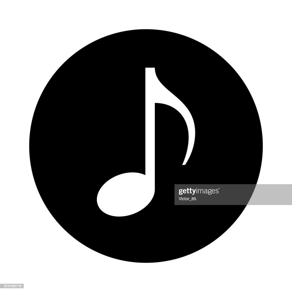 Music note circle icon. Black, round, minimalist icon isolated on white background.