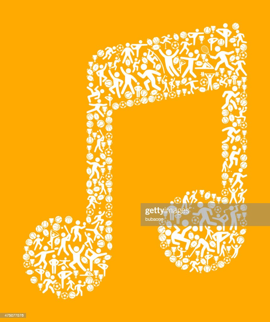 Music Note Fitness Sports And Exercise Pattern Vector Background ...