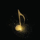 Music note gold glitter art concept symbol
