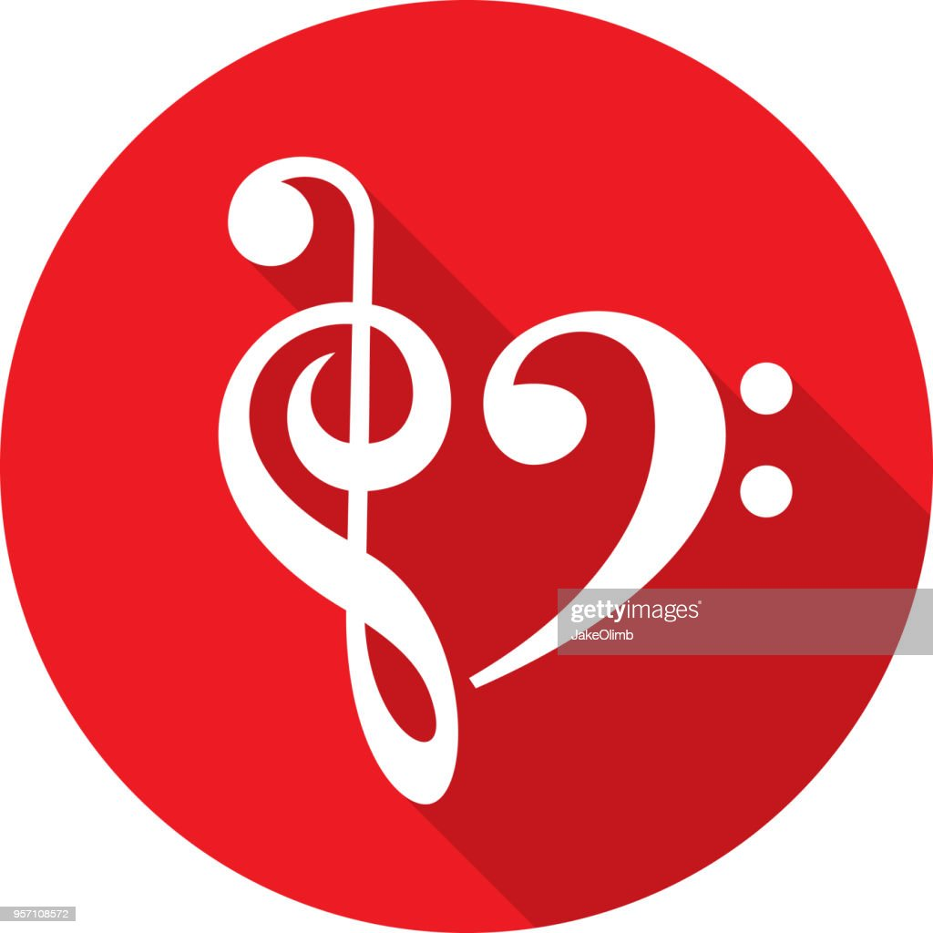 Music Note Heart Icon Silhouette : stock illustration