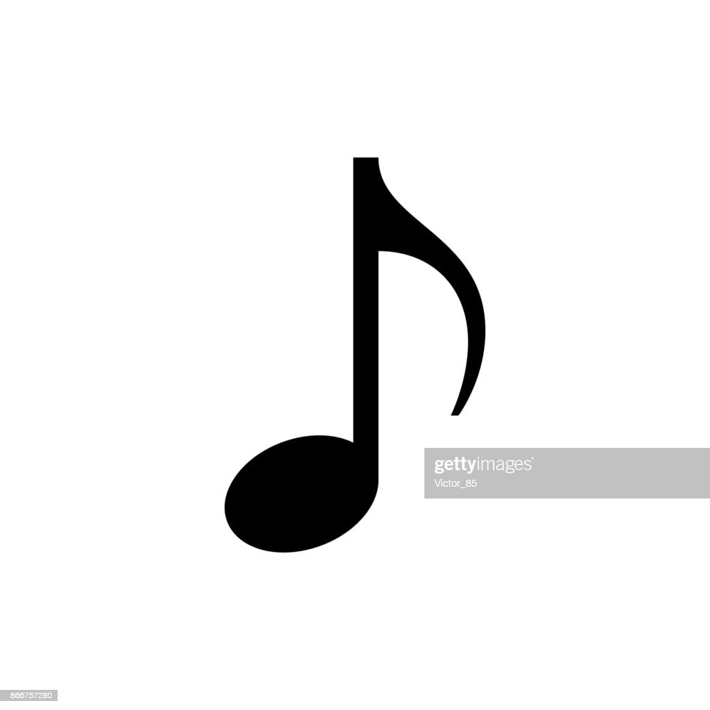 Music note icon. Black, minimalist icon isolated on white background.