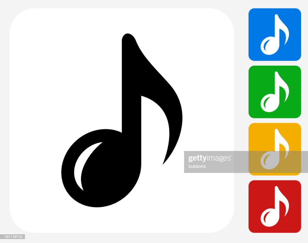 Music Note Icon Flat Graphic Design
