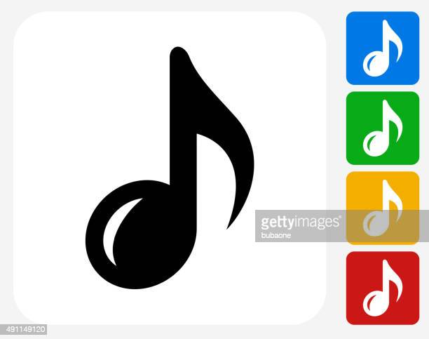 music note icon flat graphic design - sheet music stock illustrations, clip art, cartoons, & icons