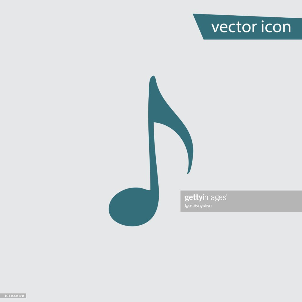 Music note icon. Flat vector musical symbol isolat