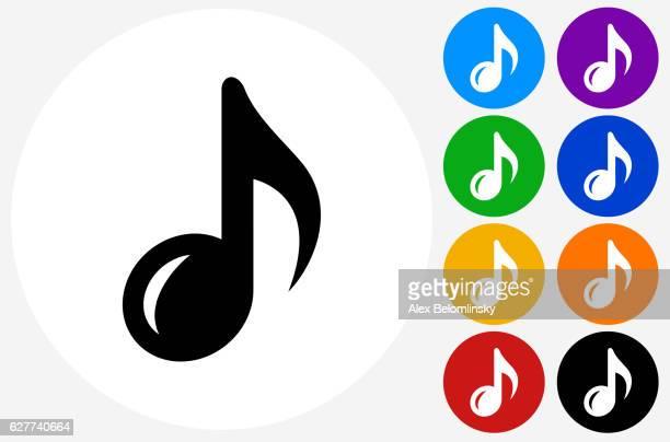 ilustrações, clipart, desenhos animados e ícones de music note icon on flat color circle buttons - nota musical