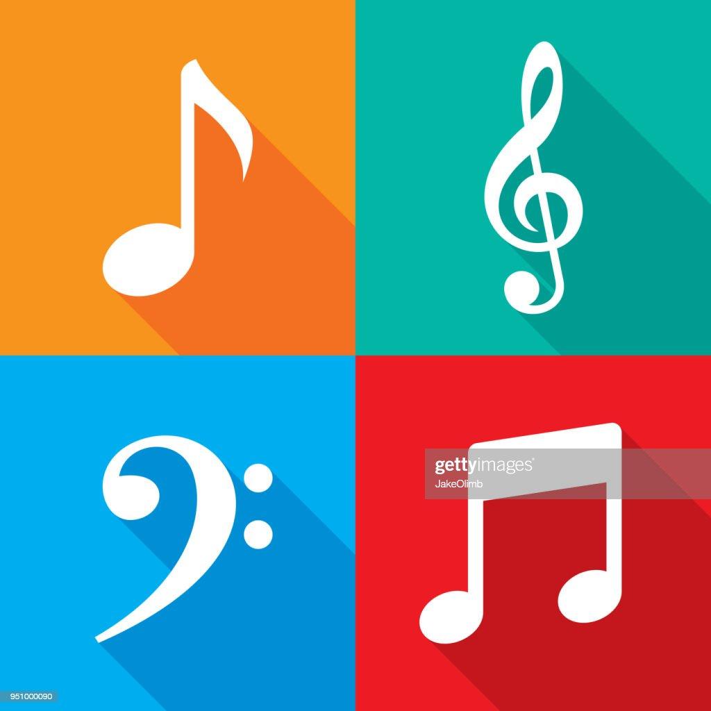 Music Note Icon Set : stock illustration