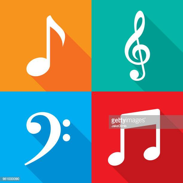 music note icon set - classical stock illustrations
