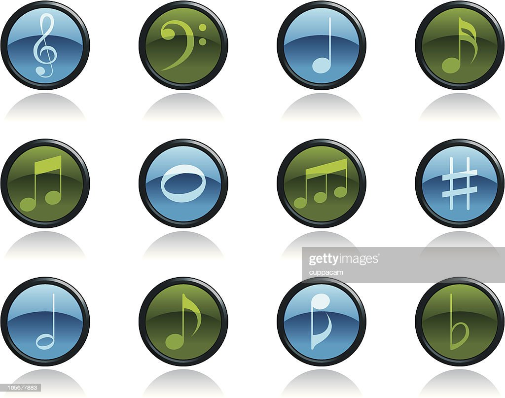 Music Note Icon Symbols in Glossy Button Shape