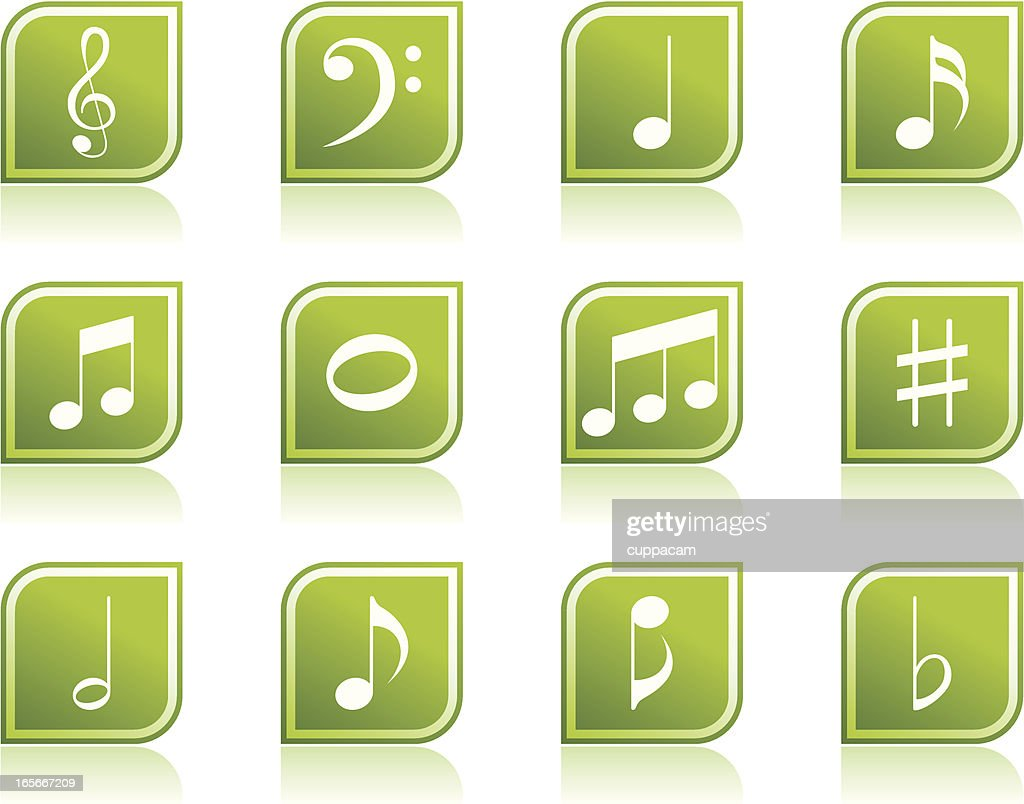 Music note icon symbols in modern green leaf shape vector art music note icon symbols in modern green leaf shape vector art buycottarizona