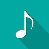 Music note icon with long shadow. Flat design style.